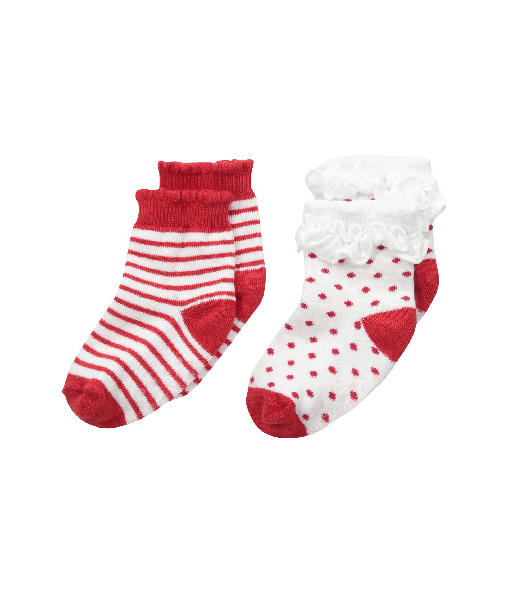 Jefferies Socks Holiday Ruffle Dot Stripe Socks with Non
