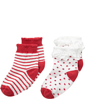Jefferies Socks - Holiday Ruffle Dot/Stripe Socks with Non-Skid 2-Pair Pack (Infant/Toddler)