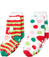 Jefferies Socks - Santa & Dot Non-Skid Fuzzy Slipper Socks 2-Pair Pack (Toddler/Little Kid/Big Kid)