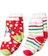 Jefferies Socks - Snowman & Stripe Non-Skid Fuzzy Slipper Socks 2-Pair Pack (Toddler/Little Kid/Big Kid)