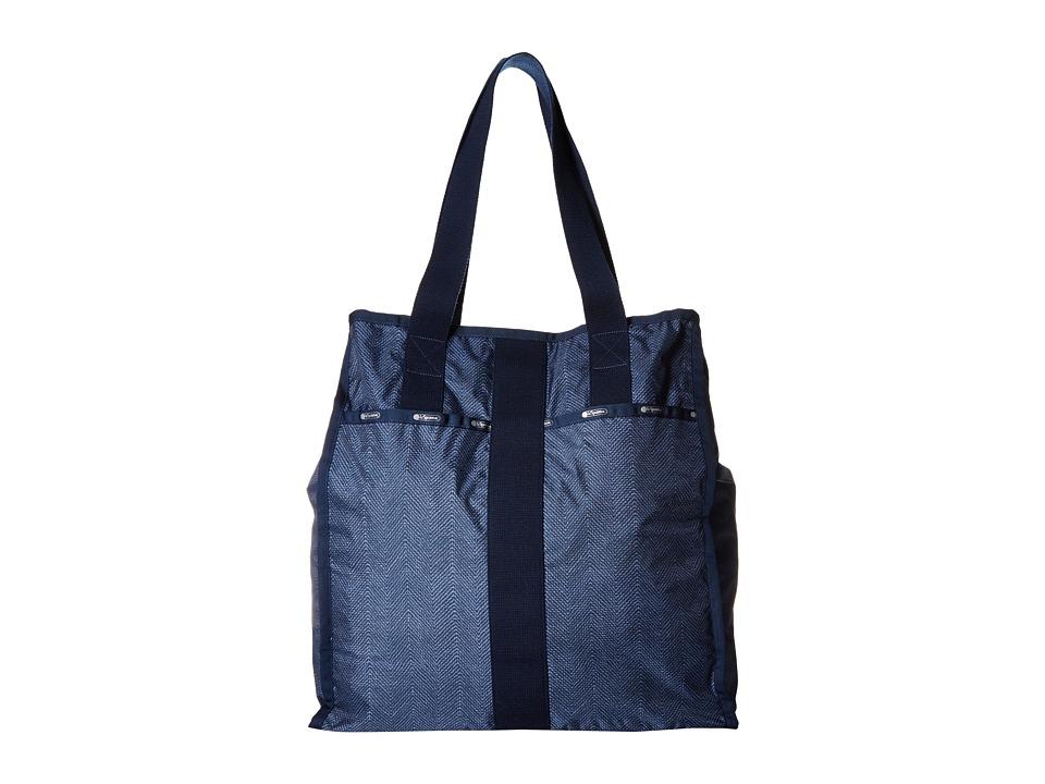 LeSportsac Luggage - Large City Tote (Herringbone Blue) Tote Handbags