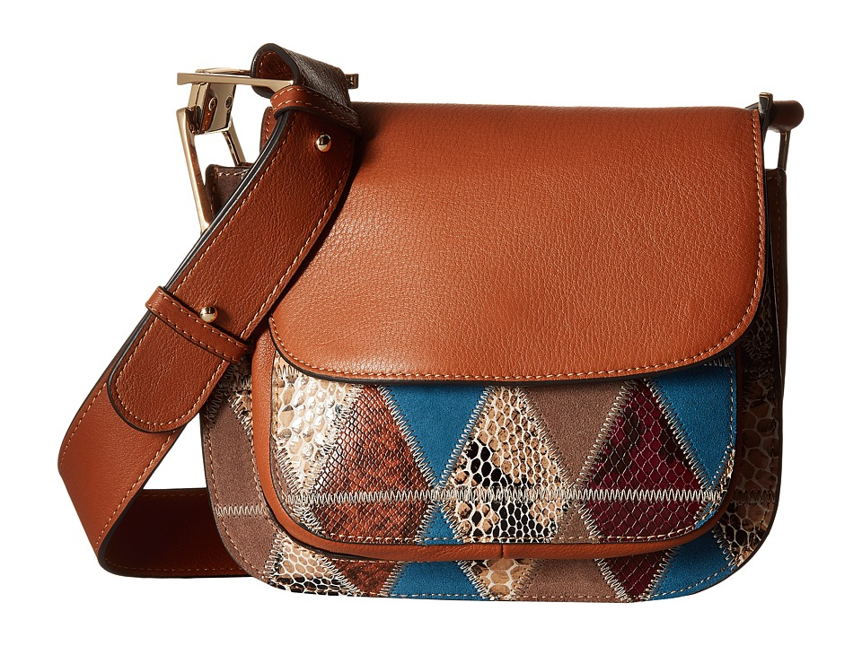 Sam Edelman - Ryan Saddle Mixed Media (Cognac Multi) Handbags