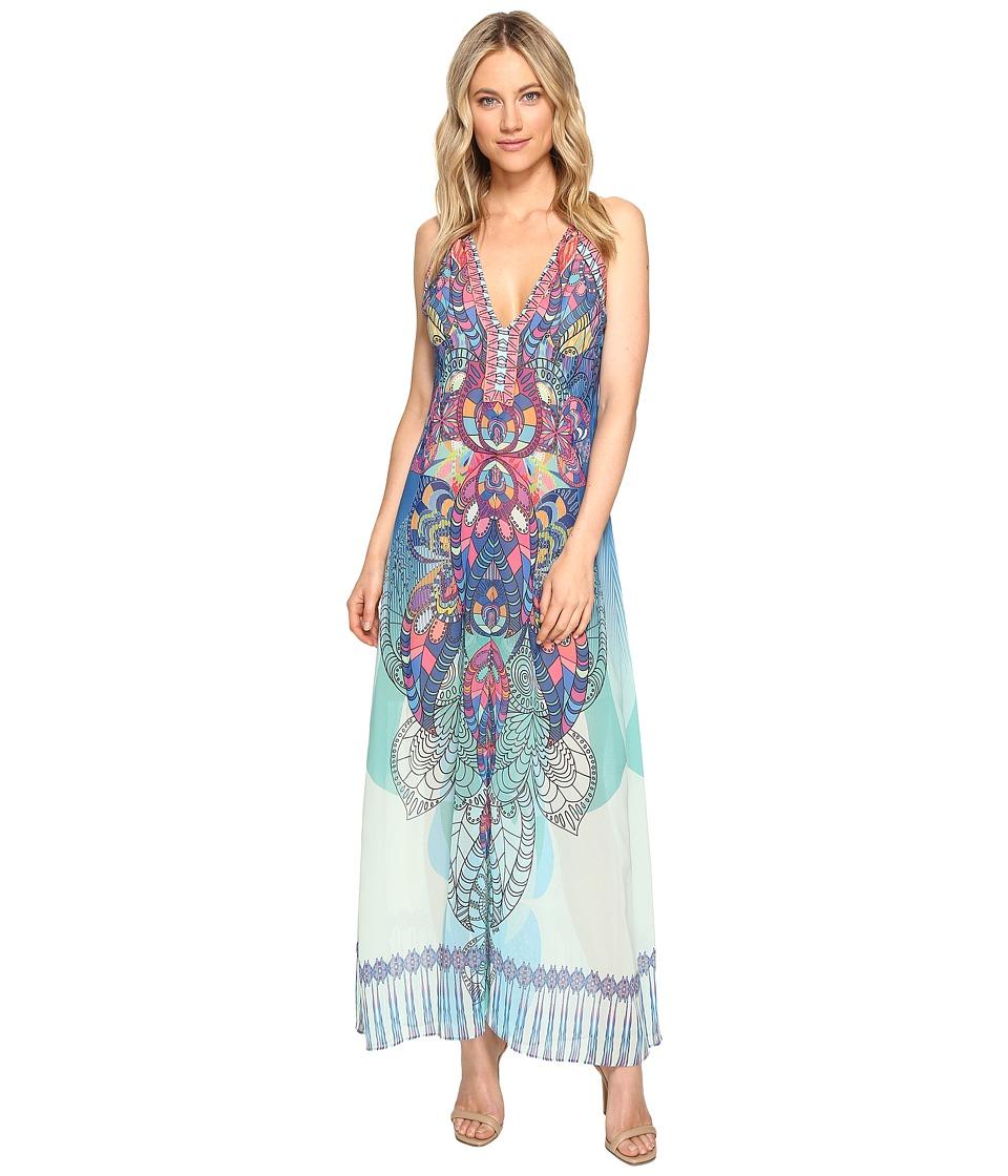 Hale Bob Supercharged Microfiber Chiffon Maxi Dress (Blue) Women