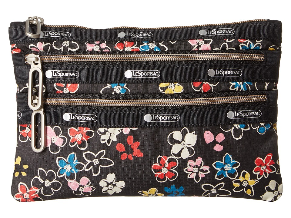 LeSportsac - Classic 3-Zip Pouch (Flower Burst) Wallet