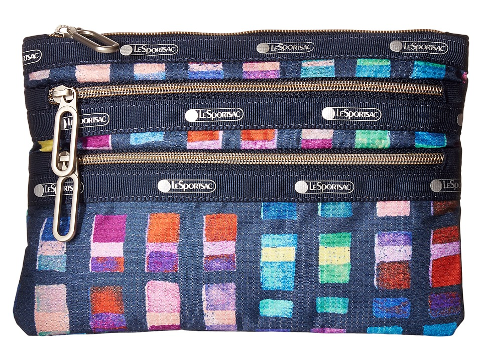 LeSportsac - Classic 3-Zip Pouch (Color Blocks) Wallet