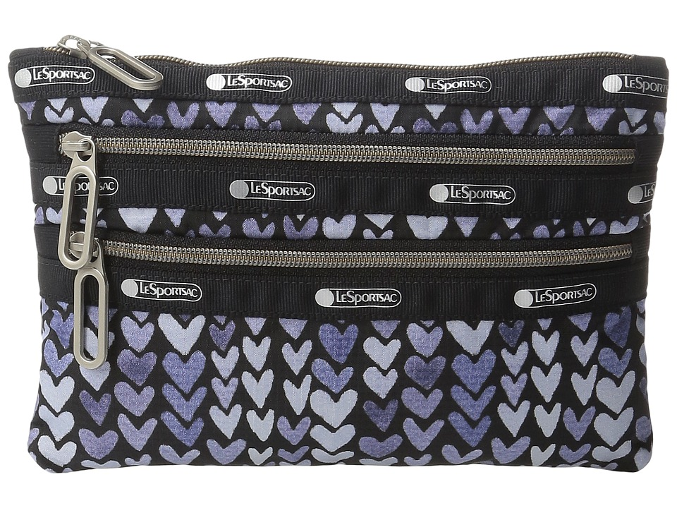 LeSportsac - Classic 3-Zip Pouch (Painted Hearts Blue) Wallet