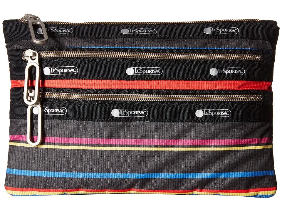 LeSportsac - Classic 3-Zip Pouch (Ribbon Stripe) Wallet