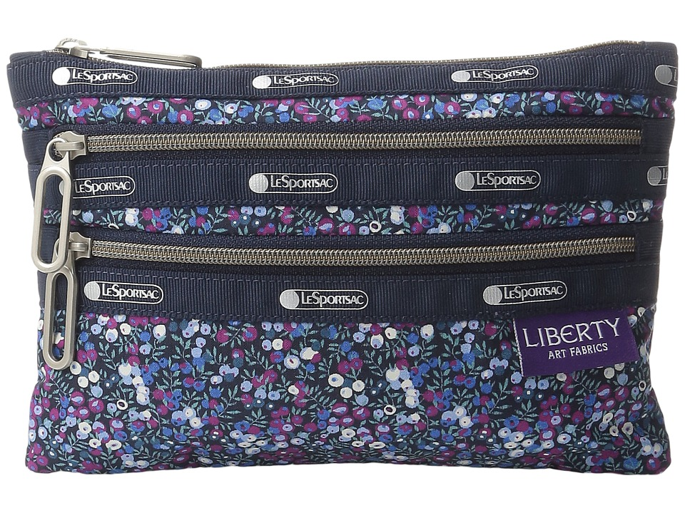 LeSportsac - Classic 3-Zip Pouch (Bell Berry Blue) Wallet