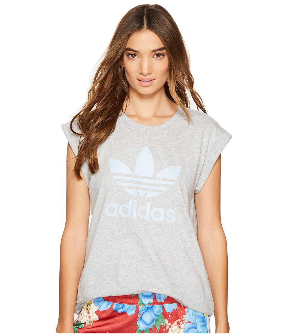 adidas Originals Boyfriend Roll-Up Tee (Medium Grey Heather) Women