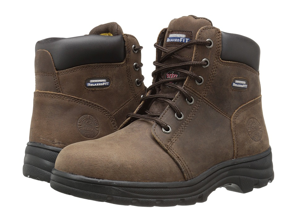 SKECHERS Work Workshire - Peril (Dark Brown Buffalo Crazy Horse Leather) Women's Lace-up Boots