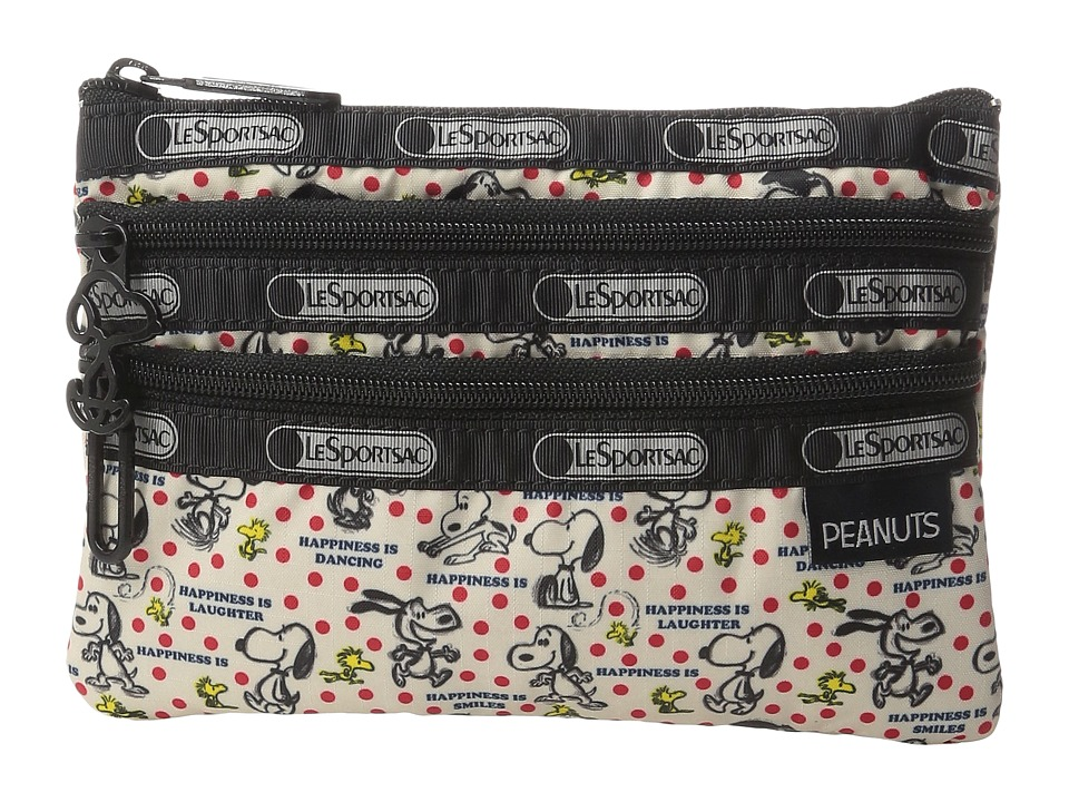 LeSportsac Peanuts 3 Zip Cosmetic (Happiness Dots) Cosmetic Case