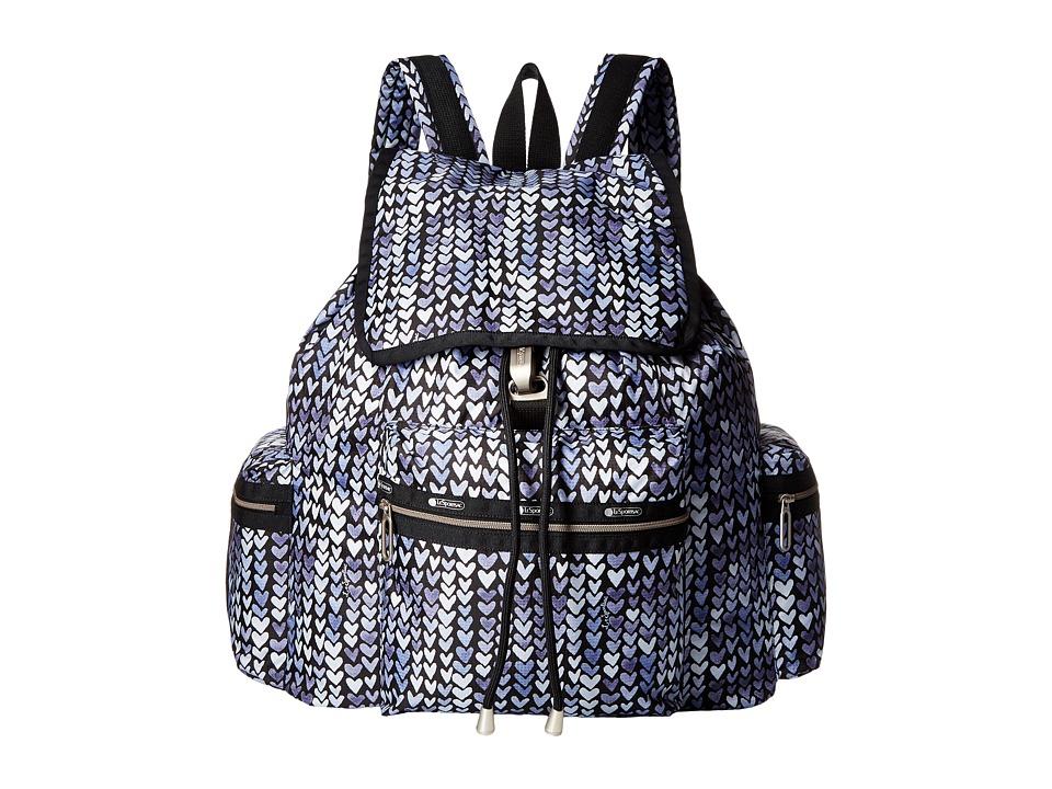 LeSportsac - 3-Zip Voyager (Painted Hearts Blue) Handbags