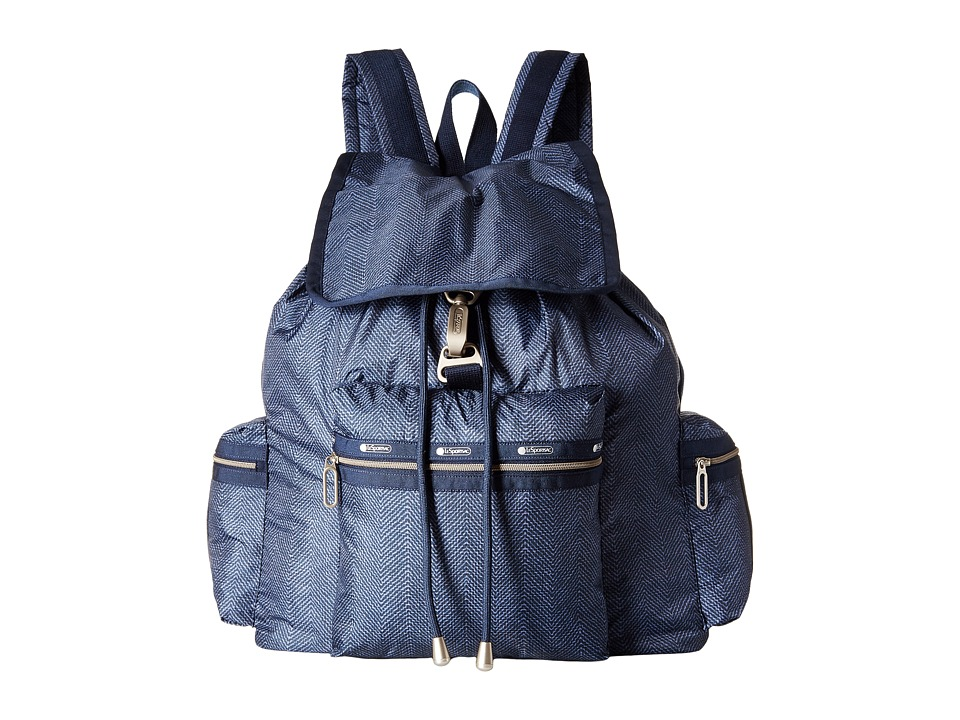 LeSportsac - 3-Zip Voyager (Herringbone Blue) Handbags