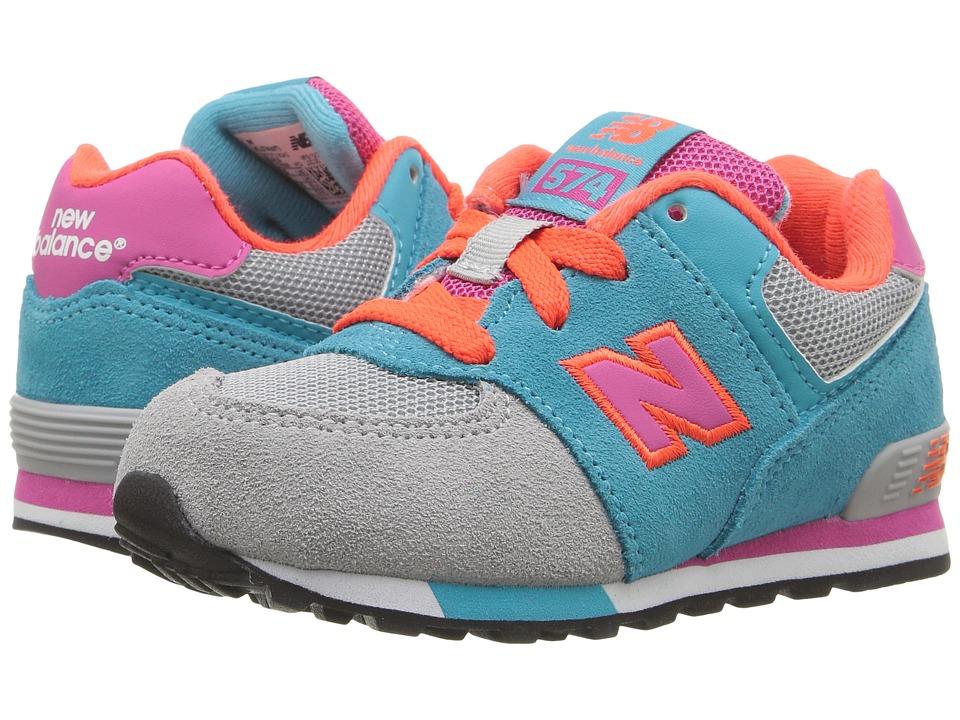 New Balance Kids KL574v1 Cut Paste (Infant/Toddler) (Grey/Teal) Girls Shoes