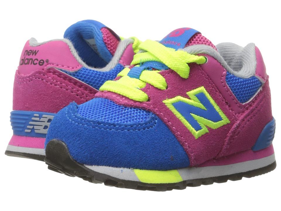 New Balance Kids KL574v1 Cut Paste (Infant/Toddler) (Pink/Blue) Girls Shoes