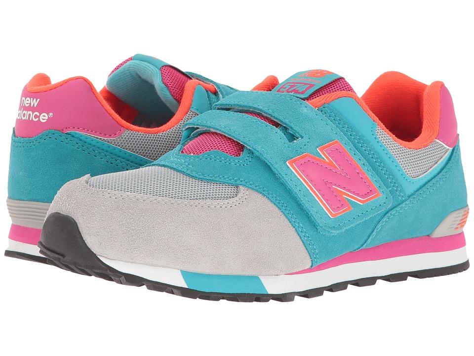 New Balance Kids KV574v1 Cut Paste (Infant/Toddler) (Grey/Teal) Girls Shoes