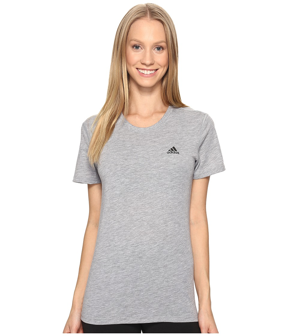 adidas Ultimate Short Sleeve Tee (Medium Grey Heather/Black) Women