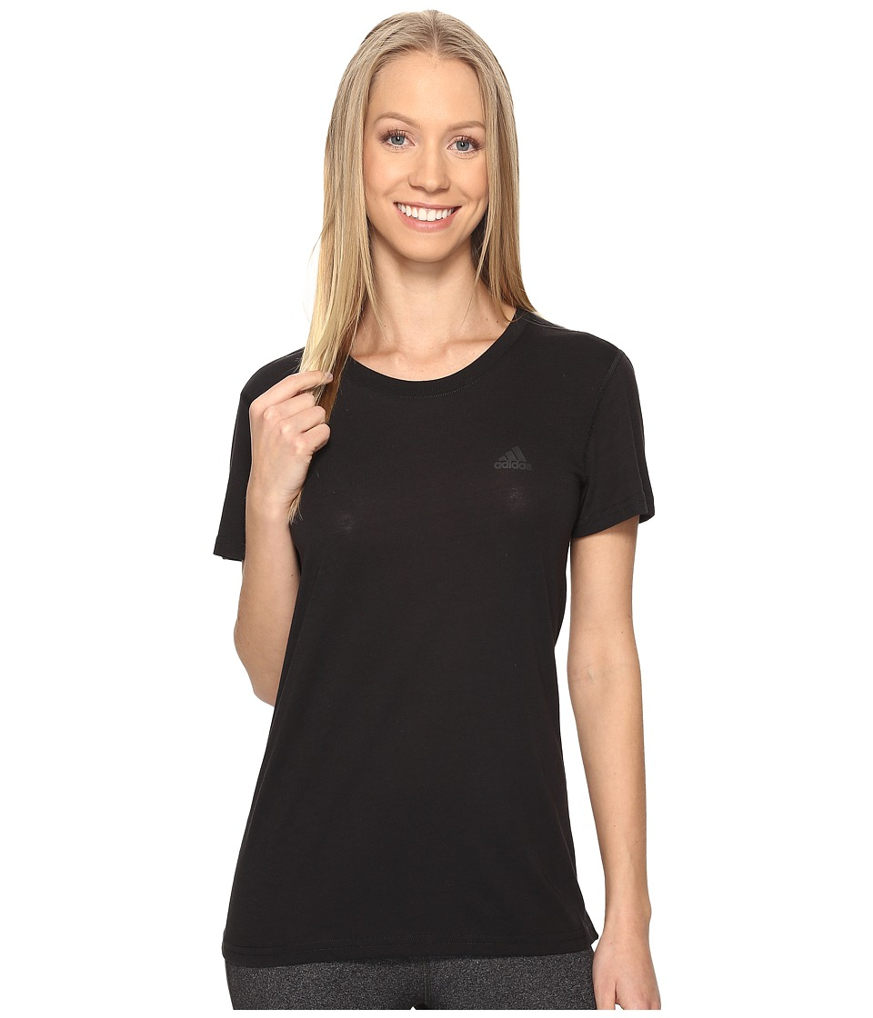 adidas Ultimate Short Sleeve Tee (Black/Black) Women