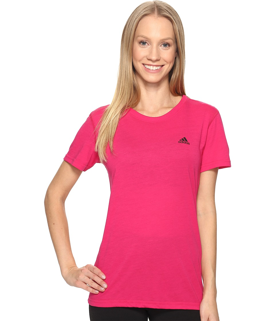 adidas Ultimate Short Sleeve Tee (Bold Pink/Black) Women
