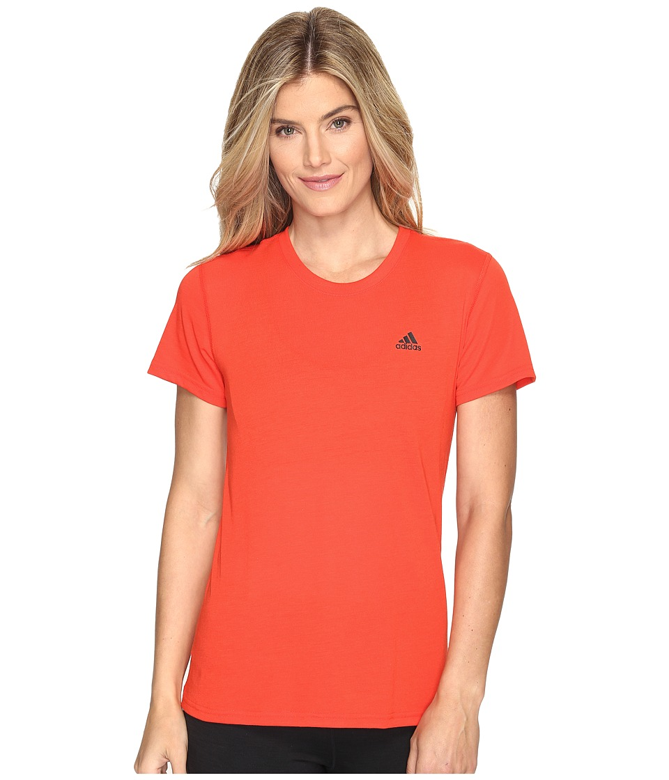 adidas Ultimate Short Sleeve Tee (Core Red S17/Black) Women