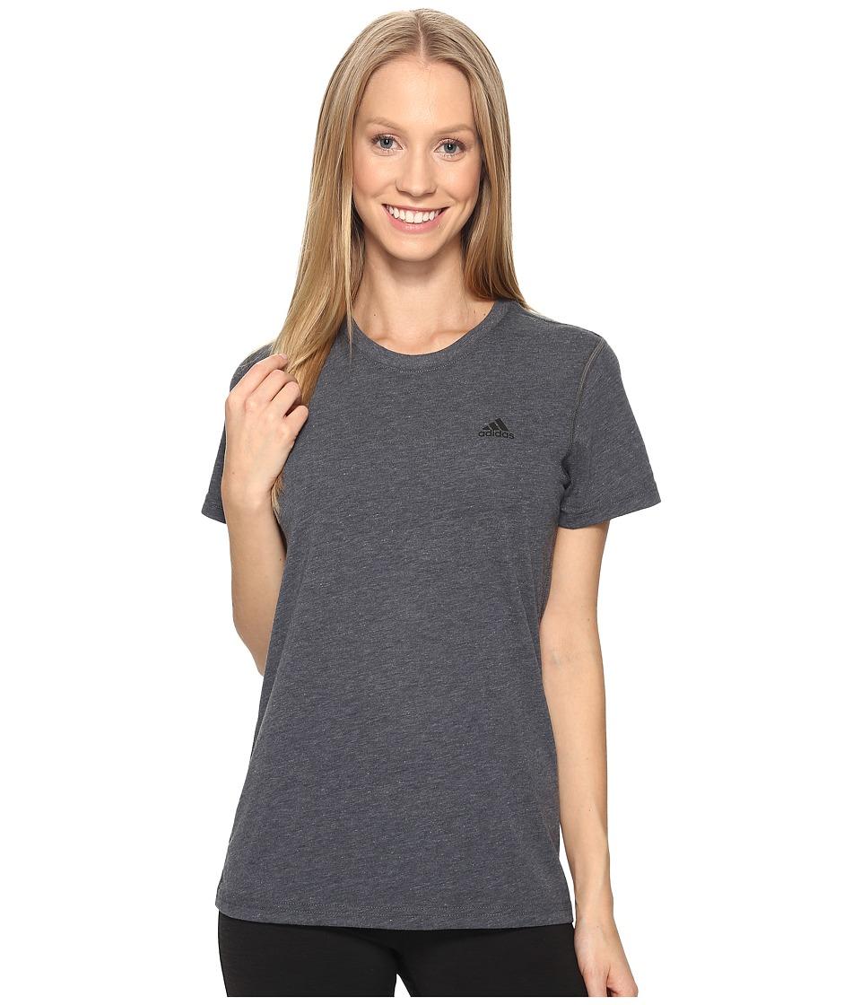 adidas Ultimate Short Sleeve Tee (Dark Grey Heather/Black) Women