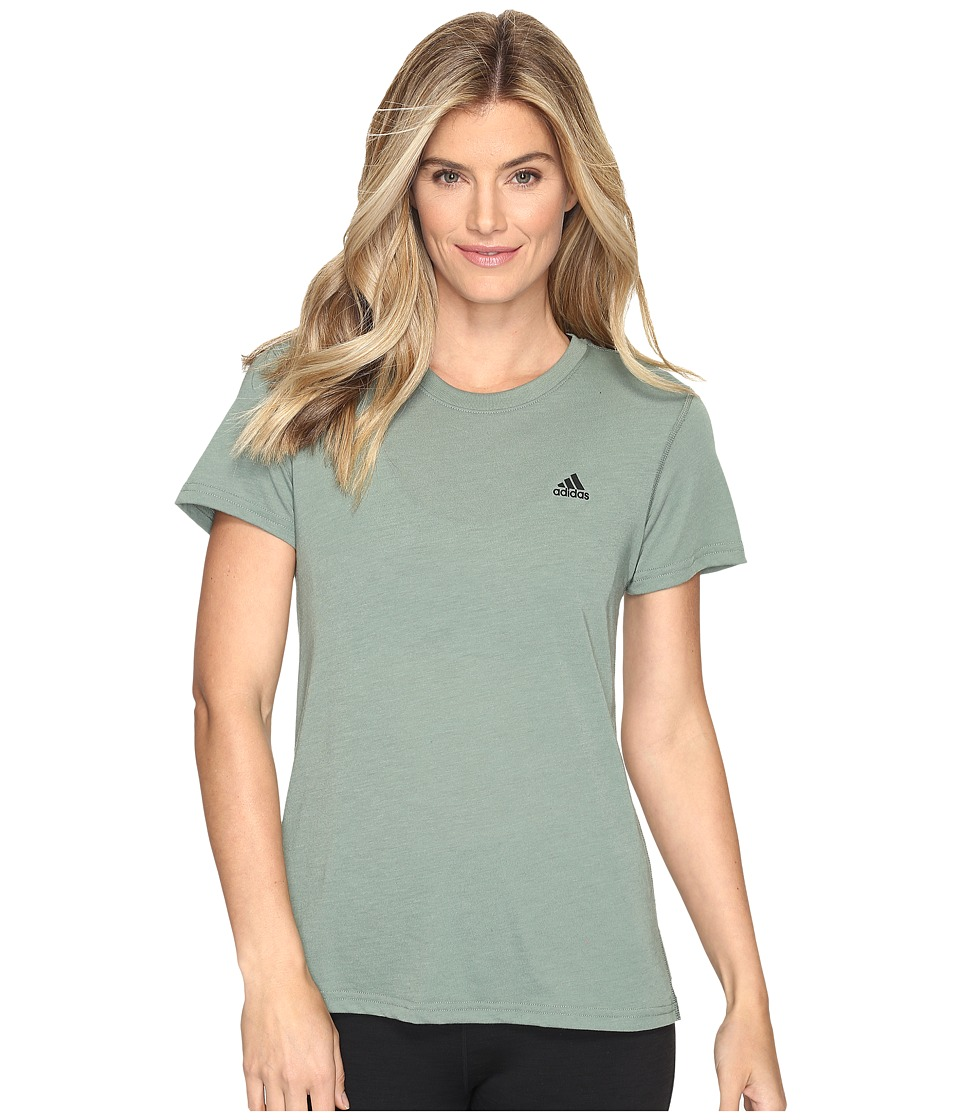 adidas Ultimate Short Sleeve Tee (Trace Green S17/Black) Women