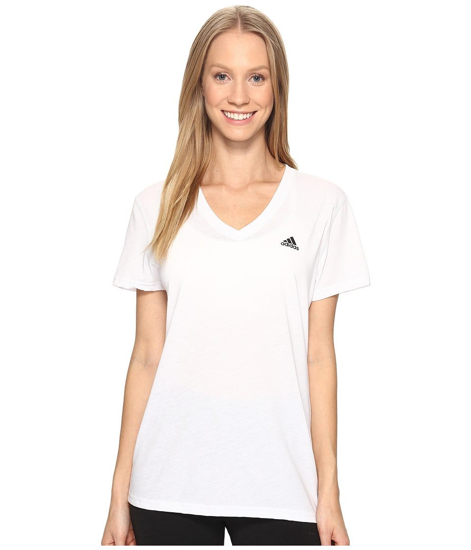 adidas Ultimate V-Neck Tee (White/Black) Women