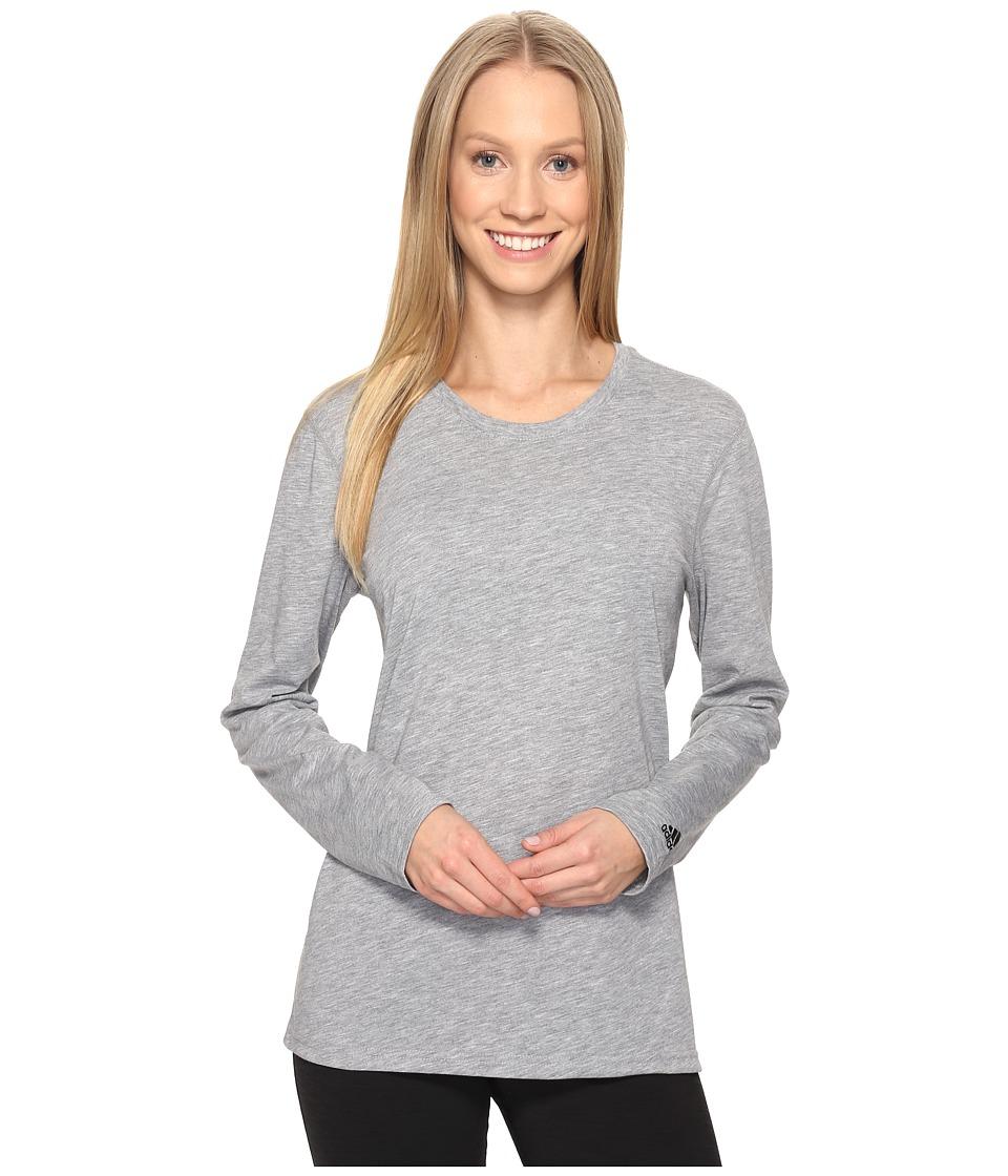 adidas Ultimate Long Sleeve Tee (Medium Grey Heather/Black) Women