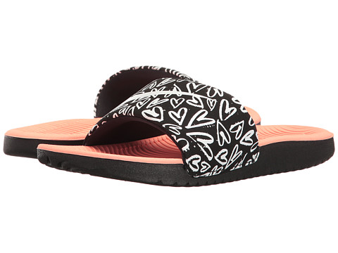 Nike Kids Slide Print (Little Kid/Big Kid) - Black/White/Lava Glow