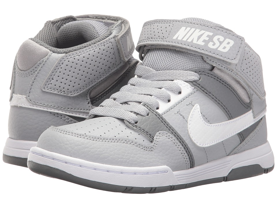 Nike SB Kids Mogan Mid 2 Jr (Little Kid/Big Kid) (Wolf Grey/White/Cool Grey) Boys Shoes