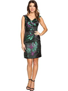 Tahari by ASL Floral Printed Satin Portrait Collar Sheath with Side Ruche  at 6PM
