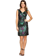 Tahari by ASL - Floral Printed Satin Portrait Collar Sheath with Side Ruche