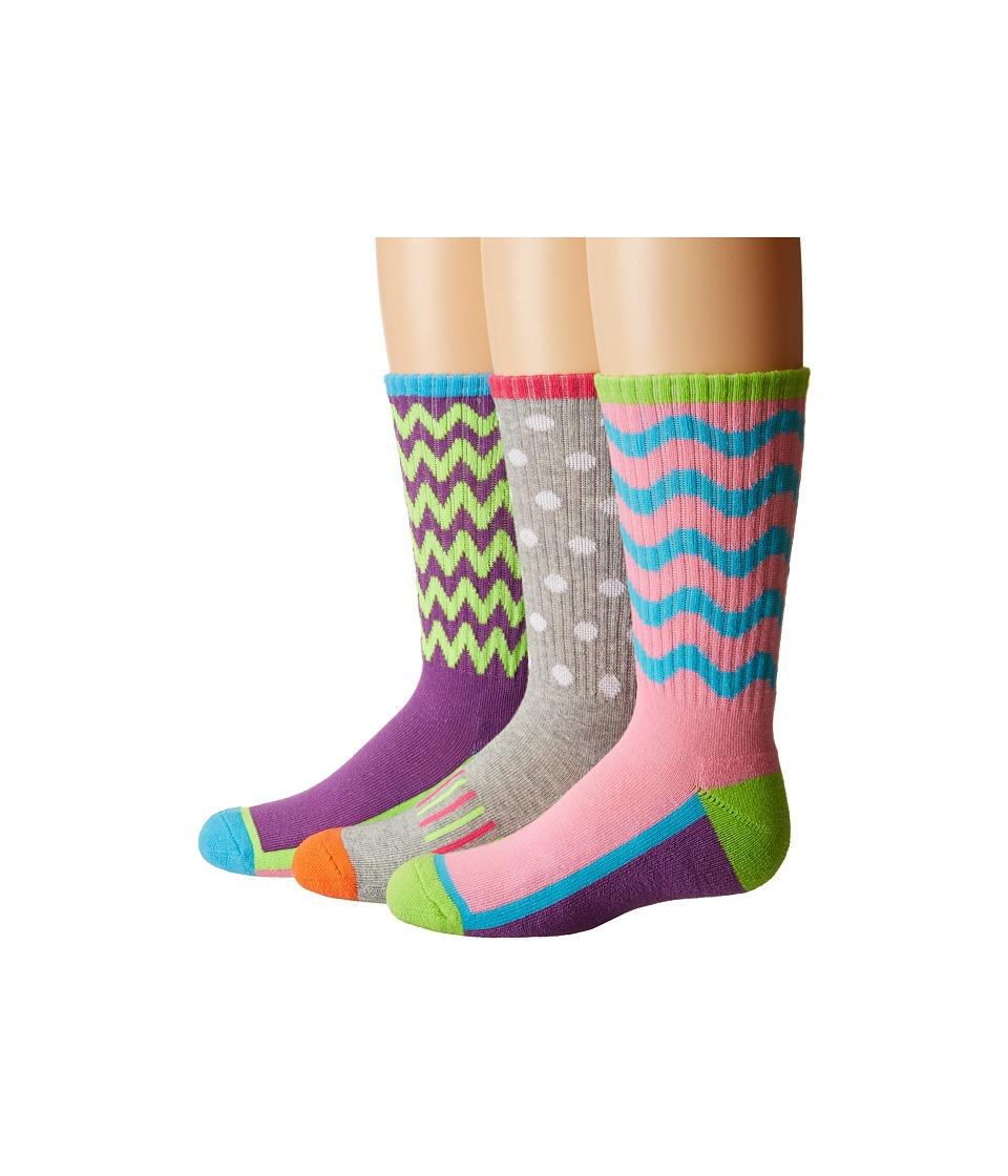 Jefferies Socks Sporty Half Cushion Crew Socks 3-Pair Pack (Toddler/Little Kid/Big Kid/Adult) (Multi) Girls Shoes