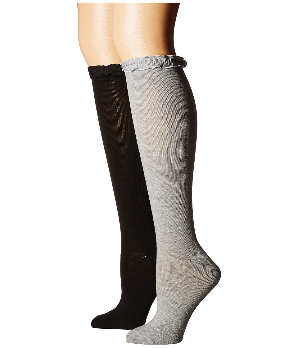 Jefferies Socks Ruffle Knee High Socks 2-Pair Pack (Toddler/Little Kid/Big Kid/Adult) (Grey/Black) Girls Shoes