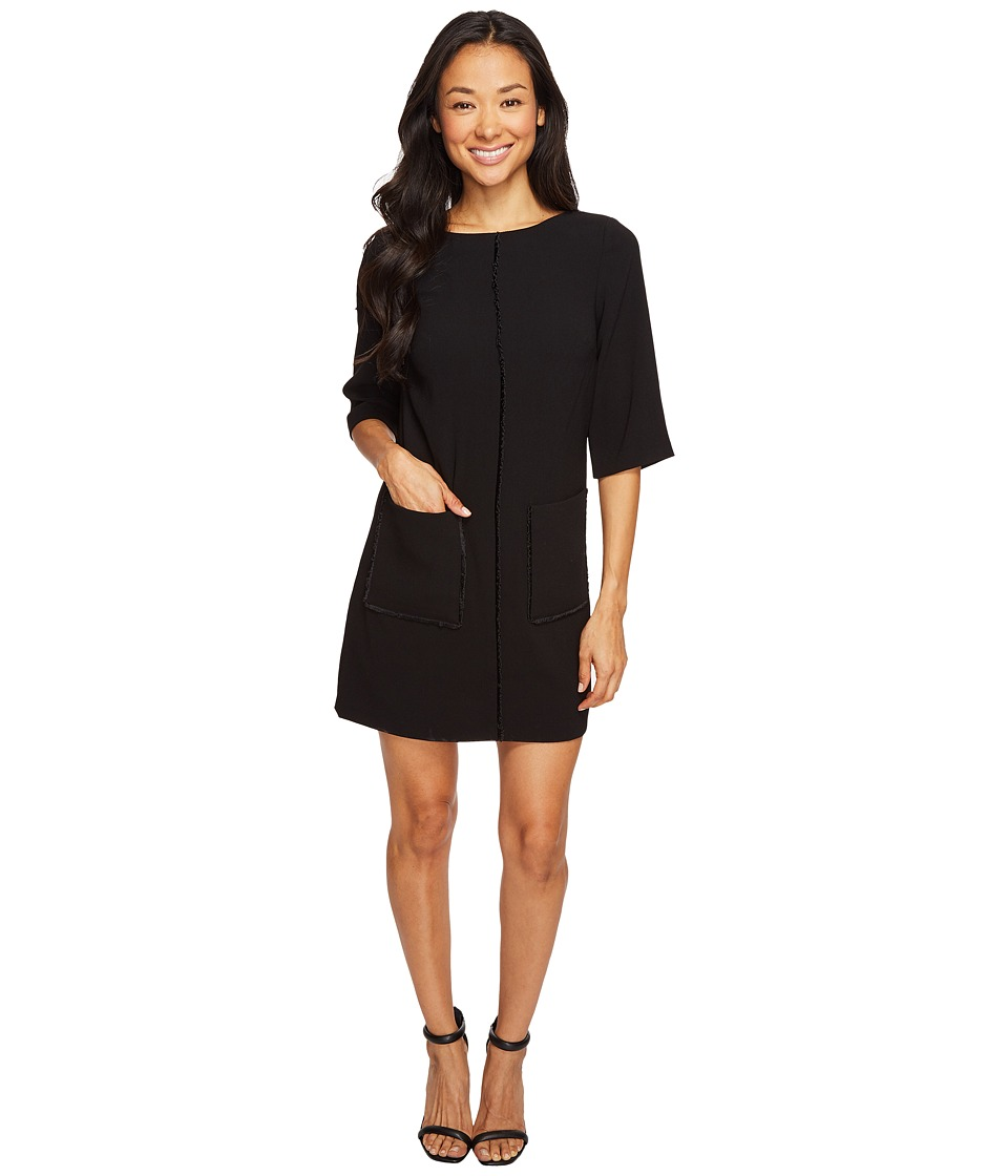 Tahari by ASL Petite - Petite Crepe Shift with Fringe Detail and Pockets