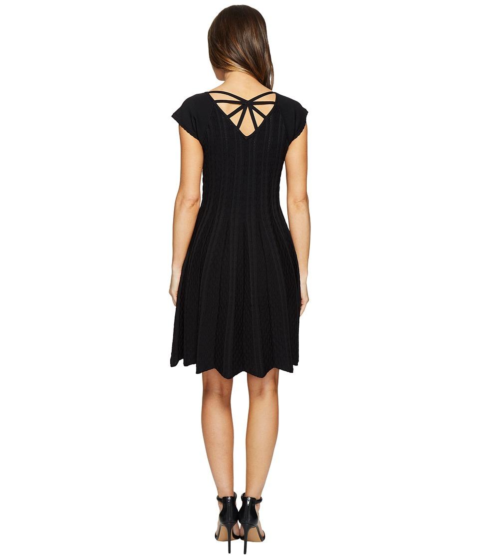Hale Bob Piece of Work Knit Stretch Jacquard Fit and Flare Dress (Black) Women