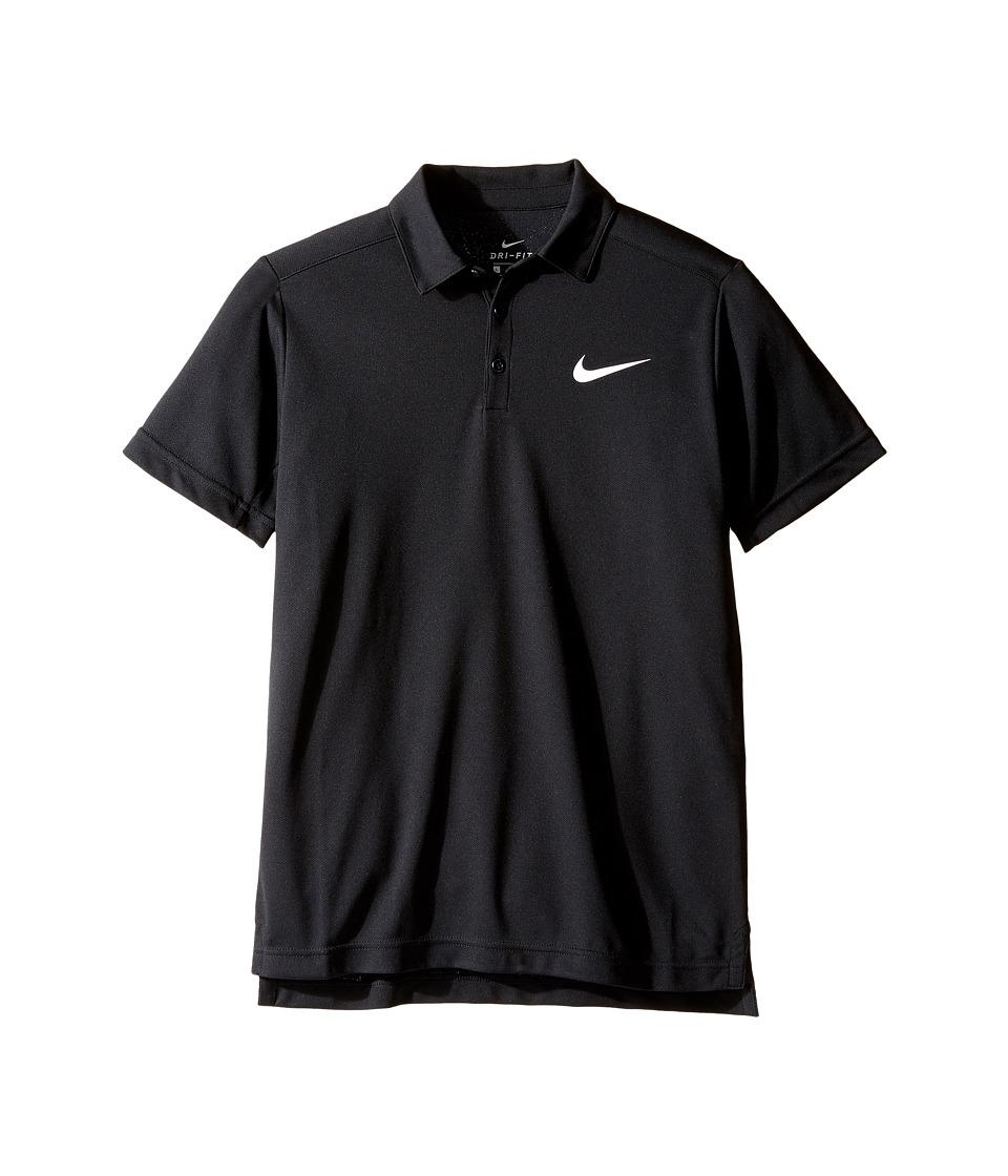 Nike Kids - Court Dry Tennis Polo (Little Kids/Big Kids) (Black/White) Boys Clothing