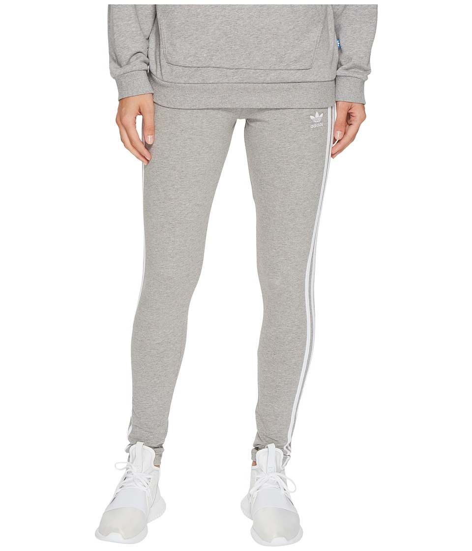 adidas Originals 3-Stripes Leggings (Medium Grey Heather) Women