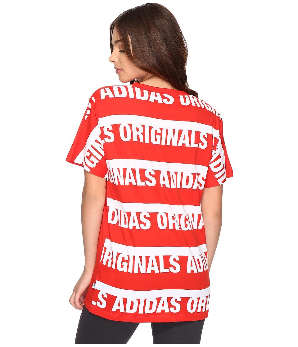 adidas Originals Boyfriend Trefoil Tee (Core Red/White) Women