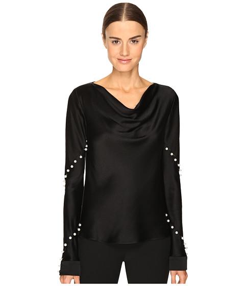 Prabal Gurung Long Sleeve Cowl Neck Blouse w/ Pearls - Black
