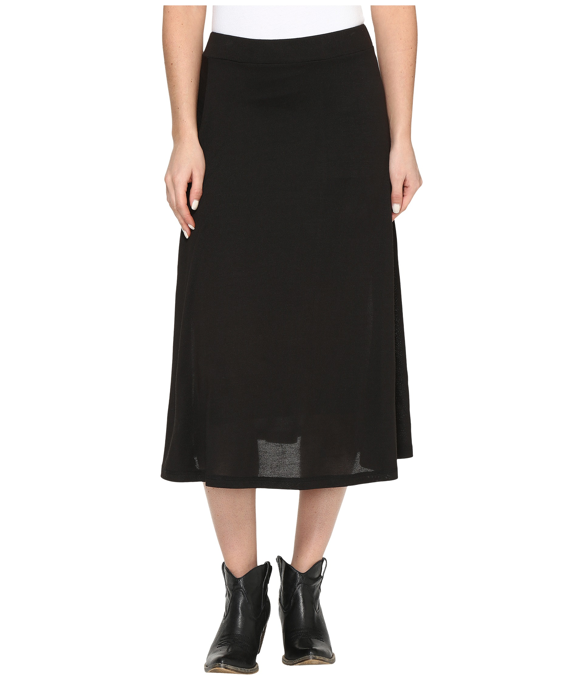 roper 0612 black sweater jersey a line skirt black