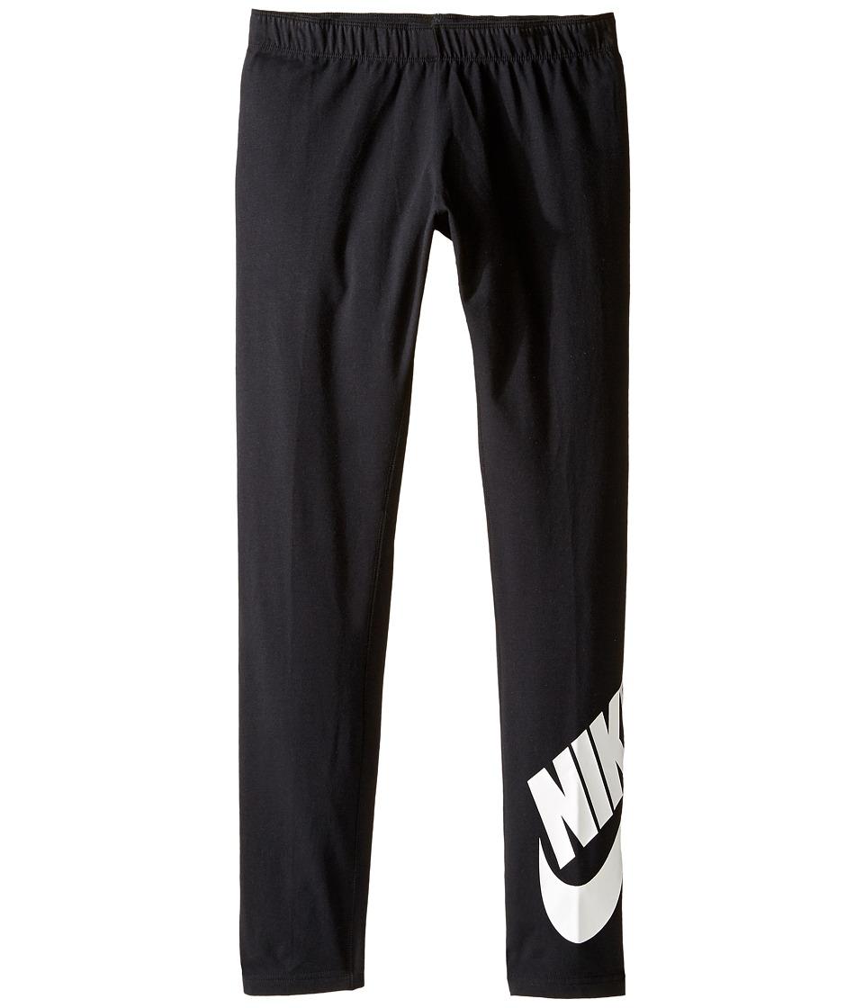 Nike Kids - Sportswear Leg-A-See Tight (Little Kids/Big Kids) (Black/White) Girls Casual Pants