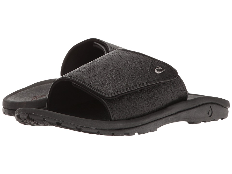 OluKai - Kupuna Slide (Black/Black) Men's Sandals