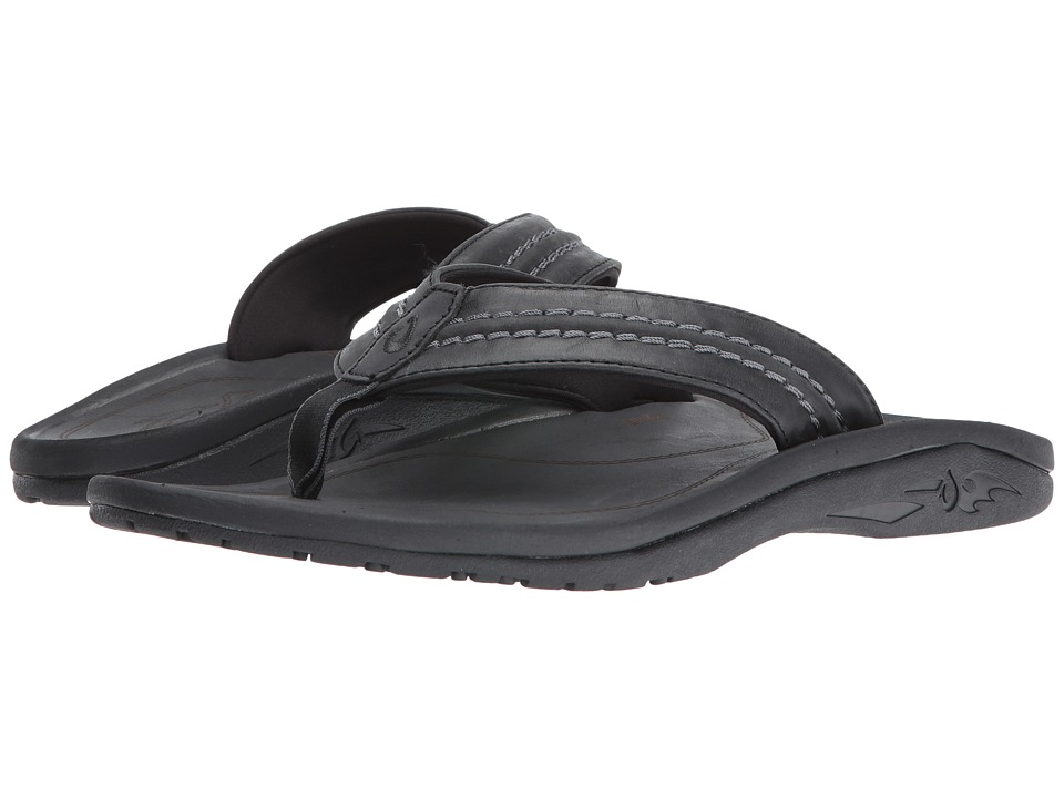 OluKai - Hokua Leather (Black/Black) Men's Sandals