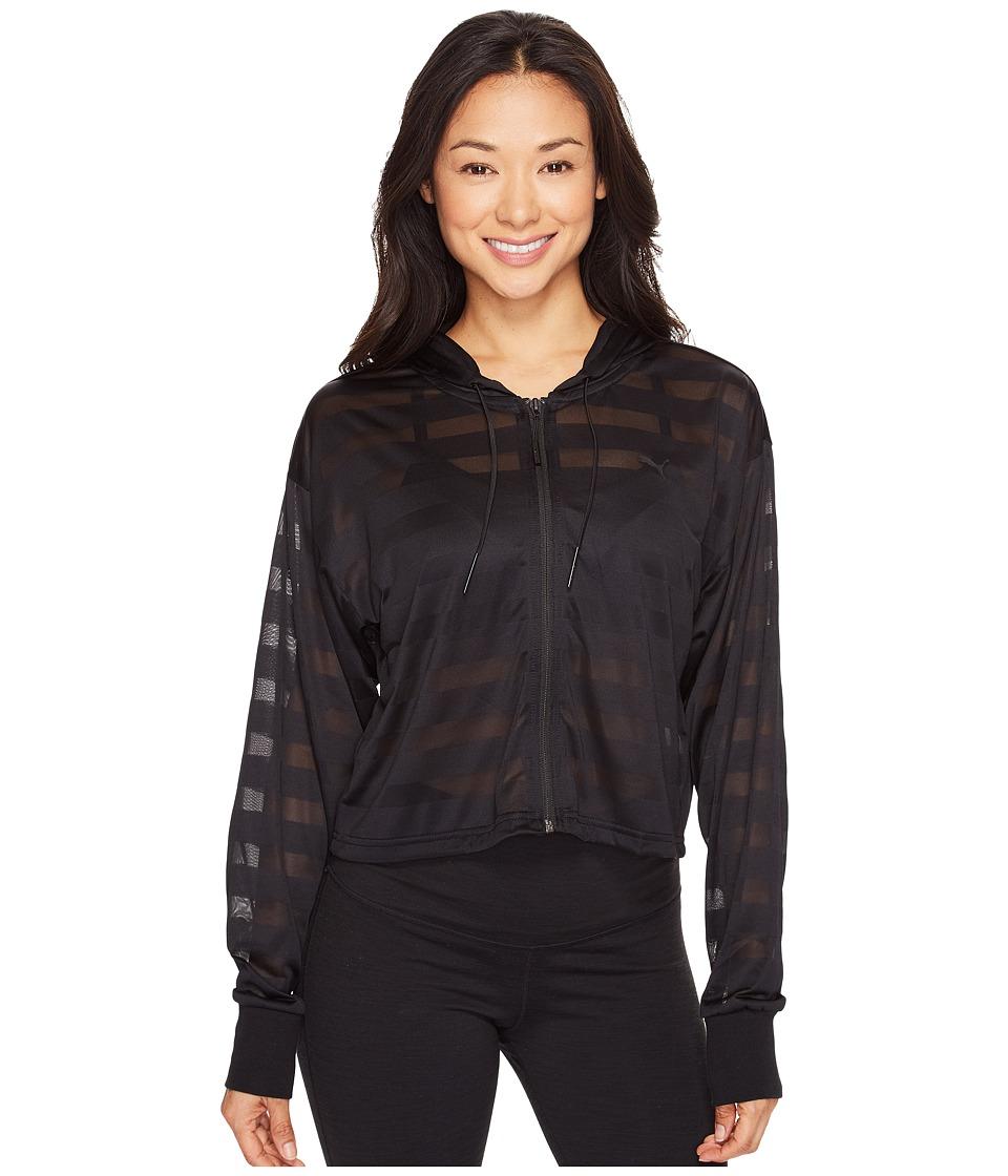 PUMA Burnout Full Zip Hoodie (Cotton Black) Women