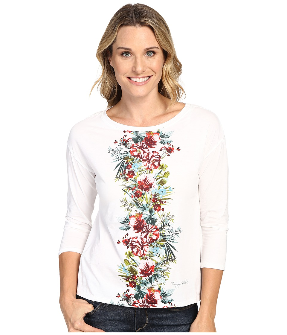 Tommy Bahama - Watercolor Columns Long Sleeve Tee (Bright White) Women