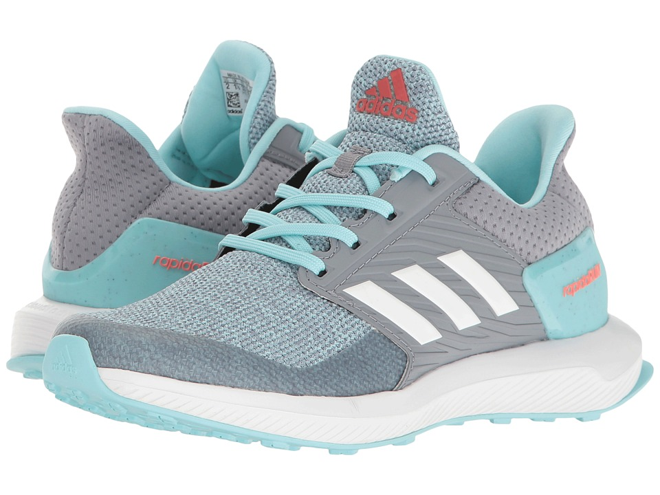 adidas Kids RapidaRun (Little Kid/Big Kid) (Grey/Footwear White/Clear Aqua) Girls Shoes