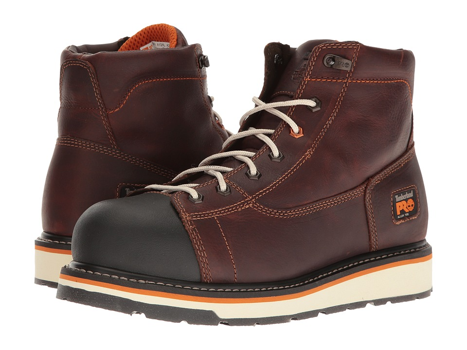 Timberland PRO Gridworks 6 Alloy Safety Toe Boot (Red/Brown Full-Grain Leather) Men