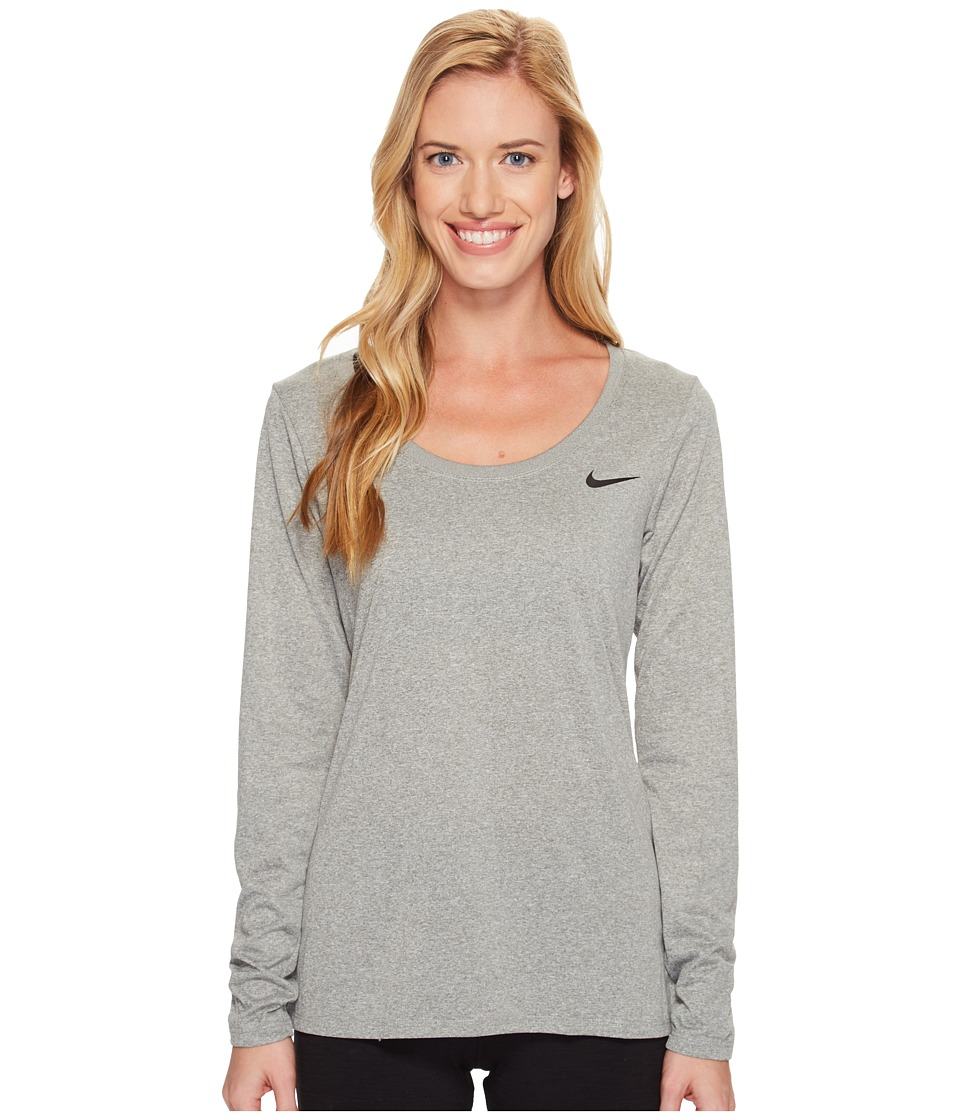 Nike Dry Legend Long Sleeve Tee (Dark Grey Heather/Black) Women