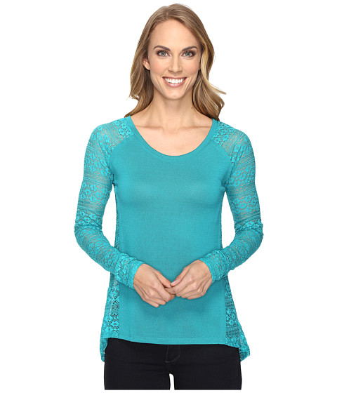 Roper 0610 Sweater Jersey & Laced Pieced Top - Blue